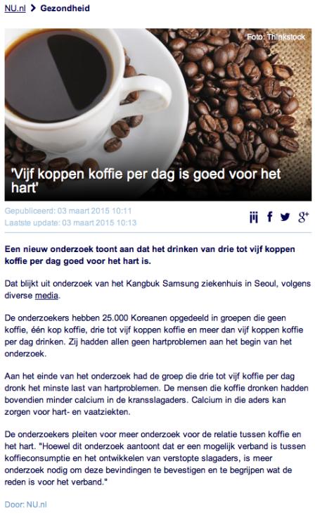 Koffie gezond maart 2015